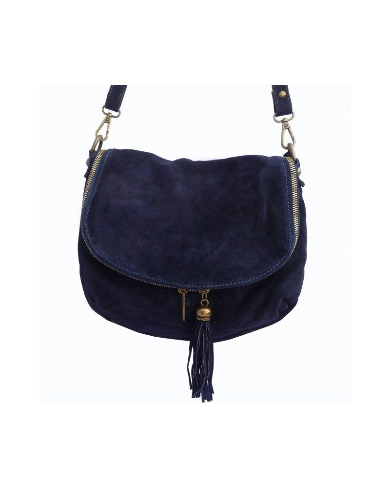 sac besace croute de cuir femme bleu marine pas cher. Black Bedroom Furniture Sets. Home Design Ideas