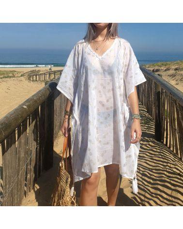 kaftan plage coton blanc