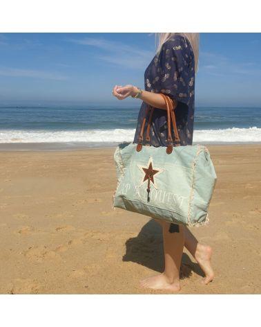 sac de plage toile et cuir