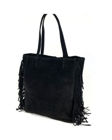 sac cabas daim noir franges