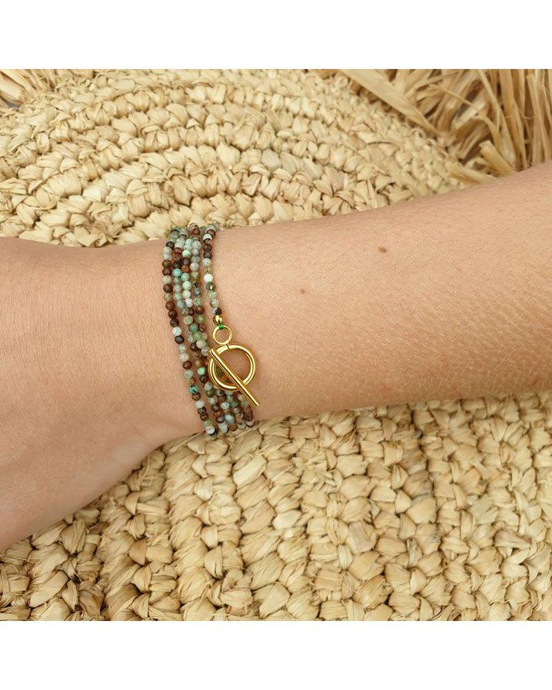 bracelet multi tour chrysoprase