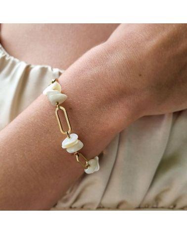 bracelet maille large nacre