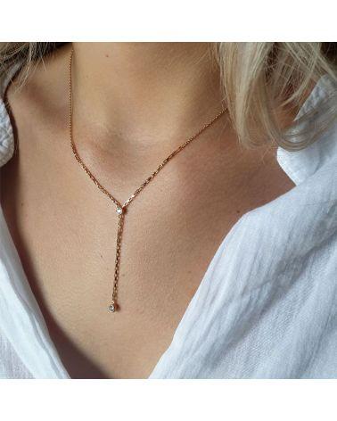 collier cravate or zirconium