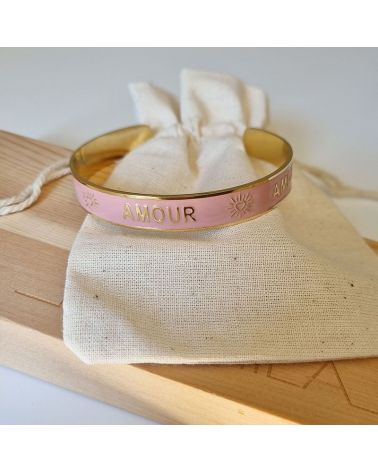 bracelet jonc email rose