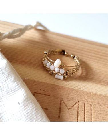 bague multirang perles blanc