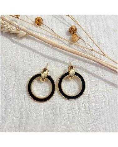 boucles d'oreilles email noir