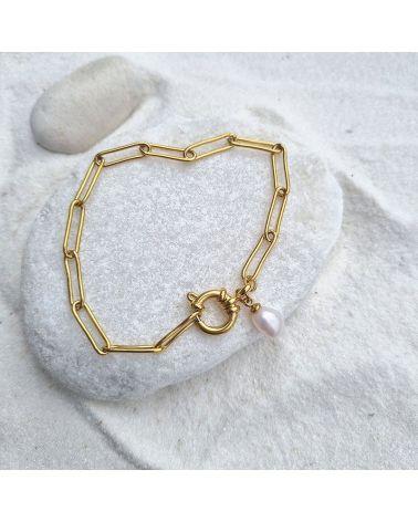 bracelet maille perle d'eau