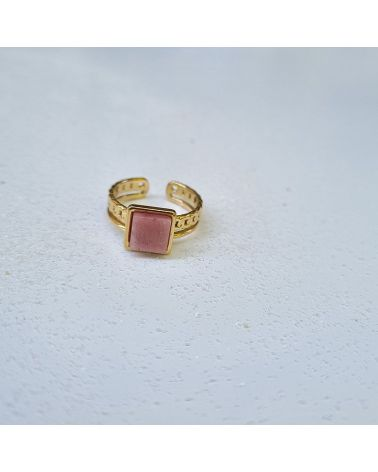 bague pierre opale rose