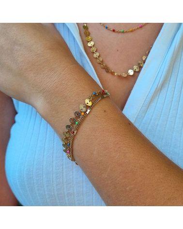 bracelet multirang multicolore