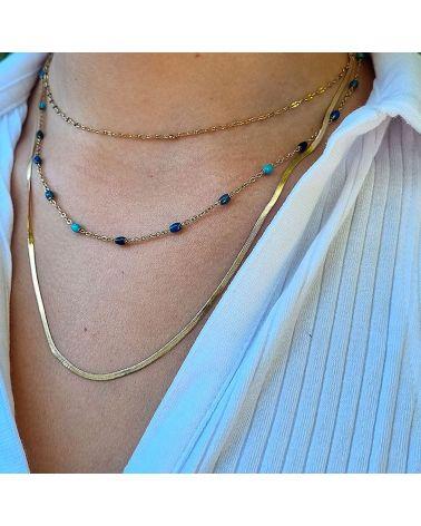 collier multirang perles bleu