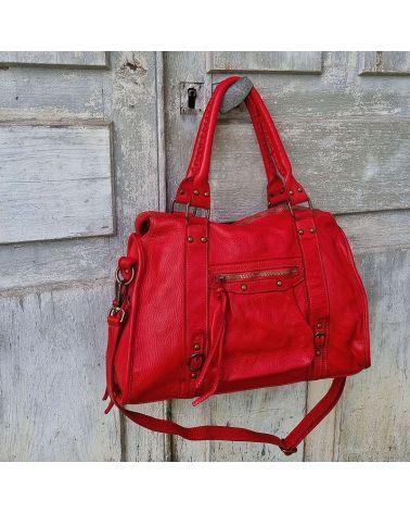 sac esprit vintage cuir rouge