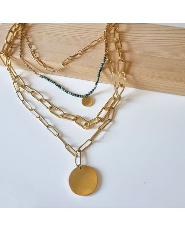 collier 4 rangs turquoise africaine