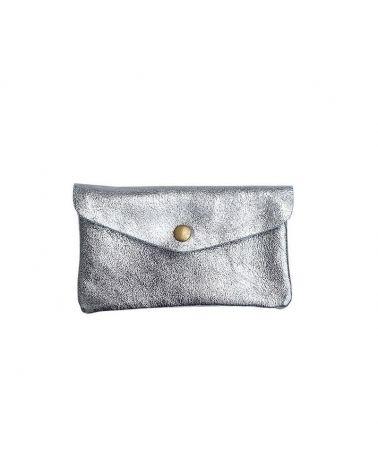 porte monnaie cuir metallisé gris
