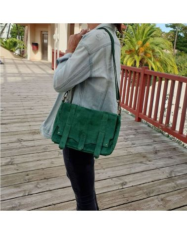 sac messenger cuir nubuck vert