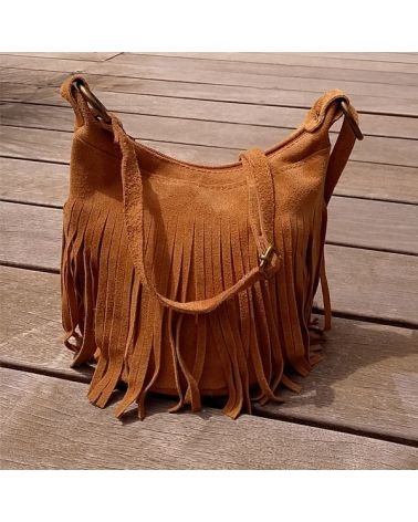Sac bourse franges camel