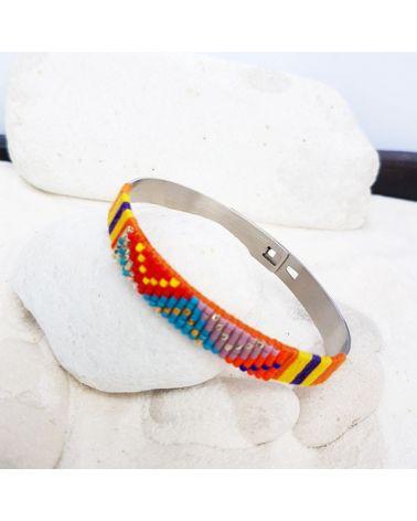 Bracelet jonc ethnique multicolore