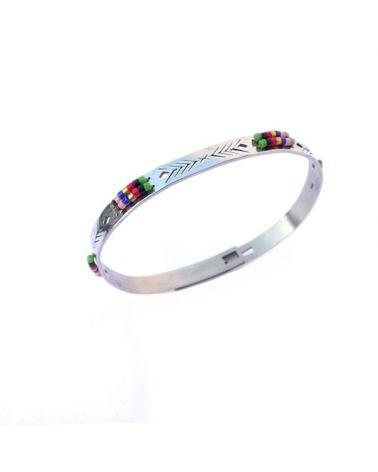 Bracelet jonc perles multicolores