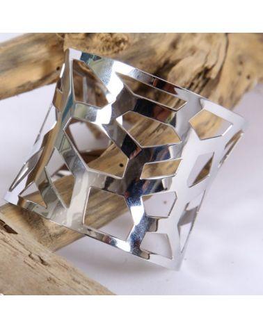 Bracelet manchette ajourée acier