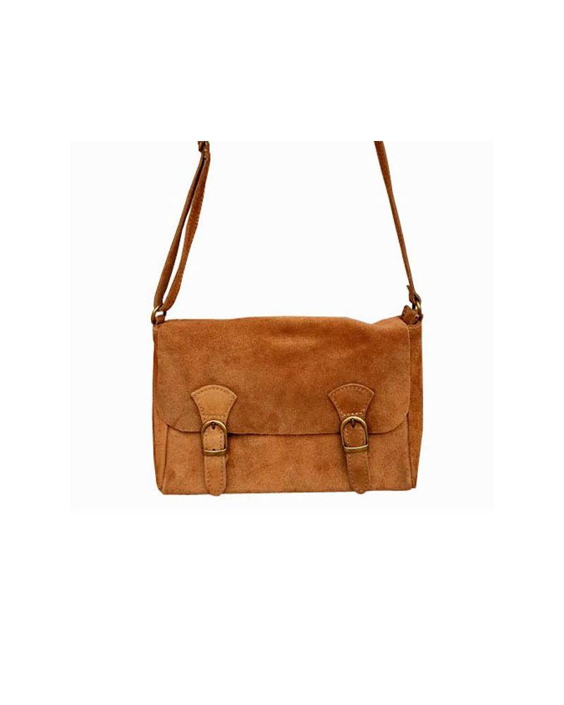 Petit sac croute de cuir forme cartable bandoulière camel pas cher 9ec96ba84a2
