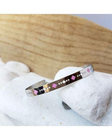 Bracelet jonc acier motif émail rose