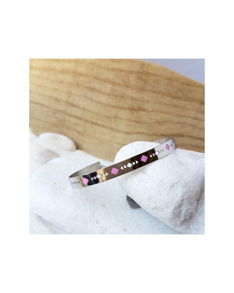 Bracelet jonc acier émail rose