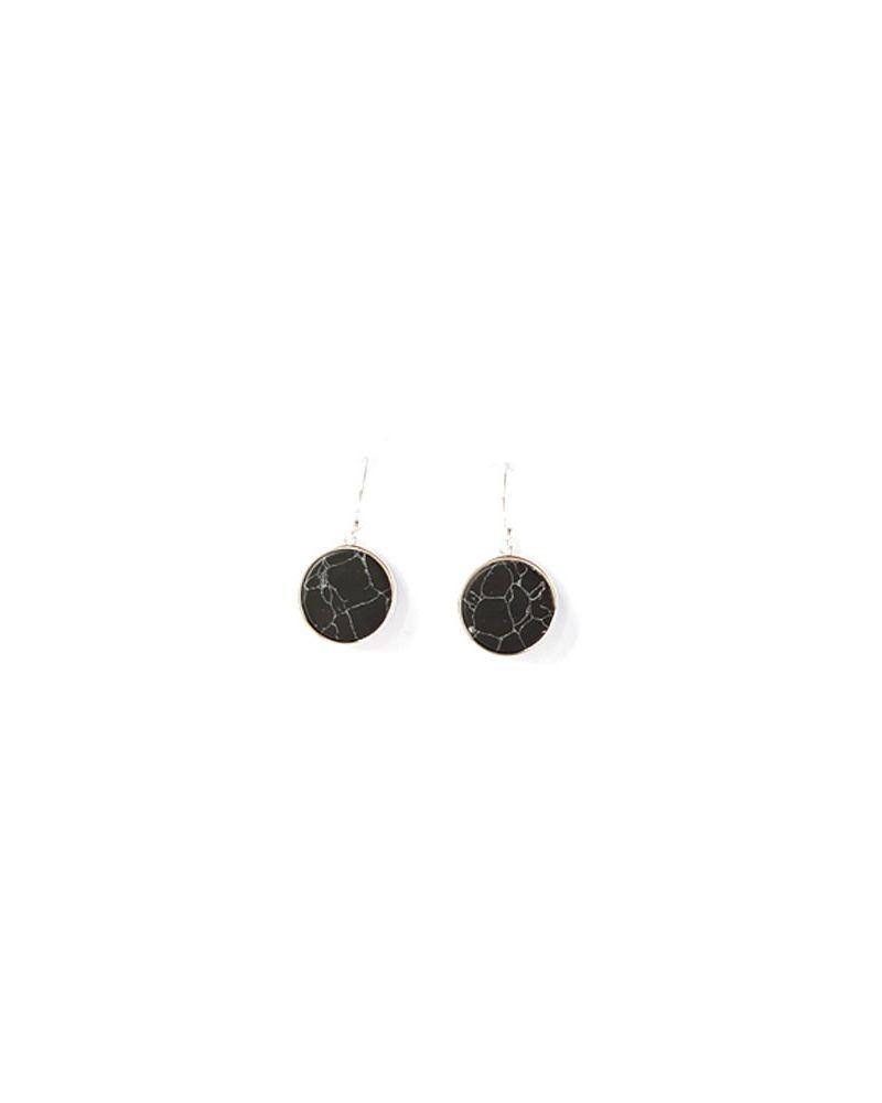 Boucles d'oreilles argent pendentif noir