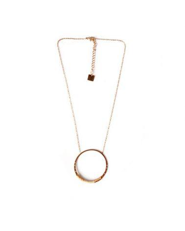 Collier chaine large anneau doré rose