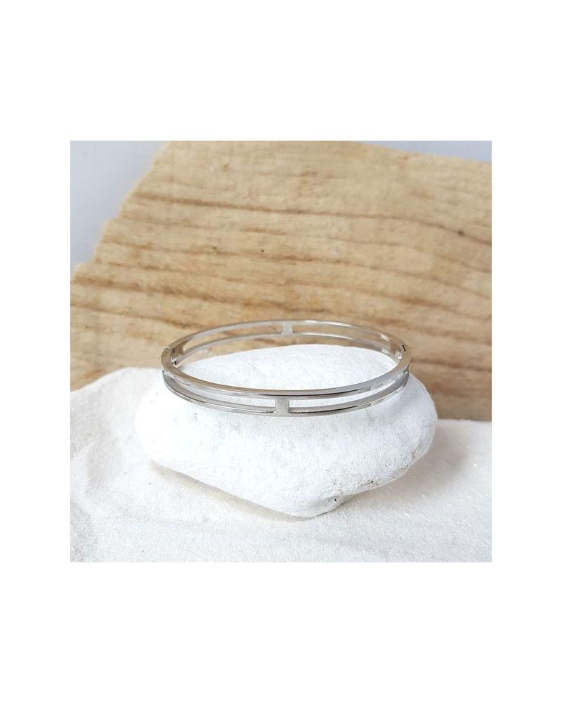 Bracelet jonc acier double anneau