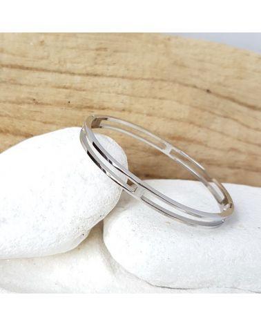 Bracelet jonc acier double anneau mile mila