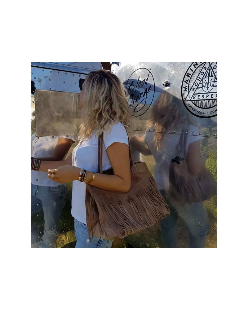 Sac cabas  franges Taupe