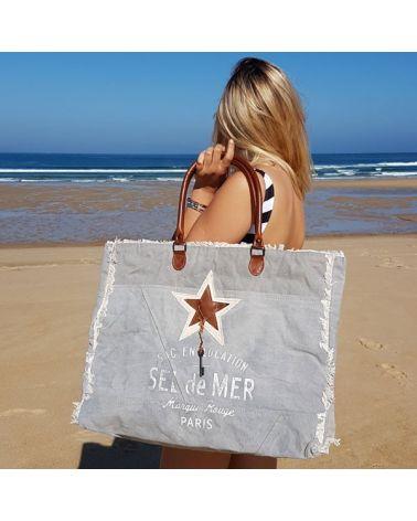 Sac de plage XL toile gris Sel de Mer