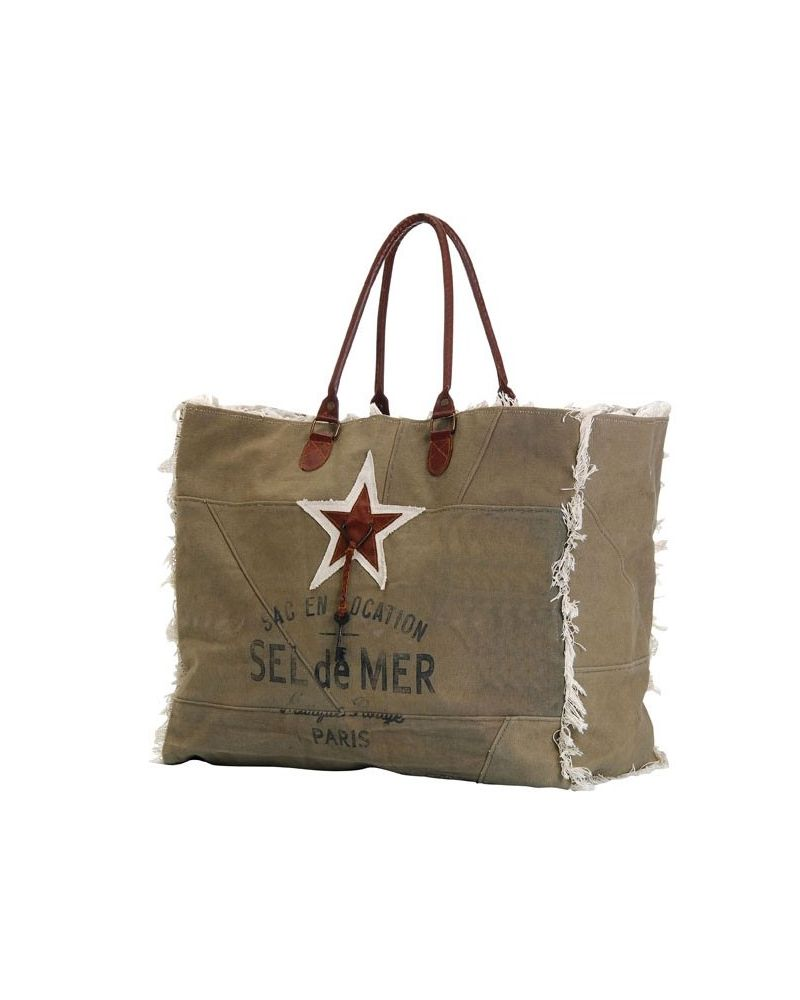 Sac cabas plage toile taupe
