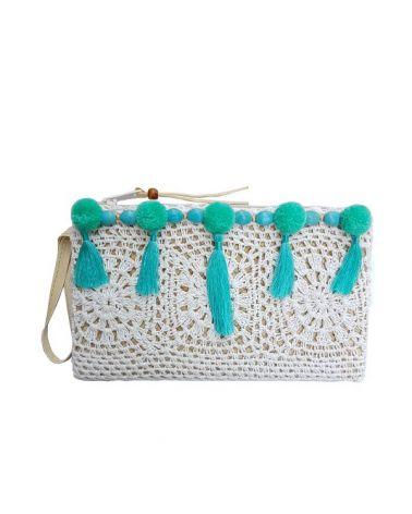 Pochette paille crochet pompon