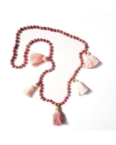 Collier pompon rhodonite