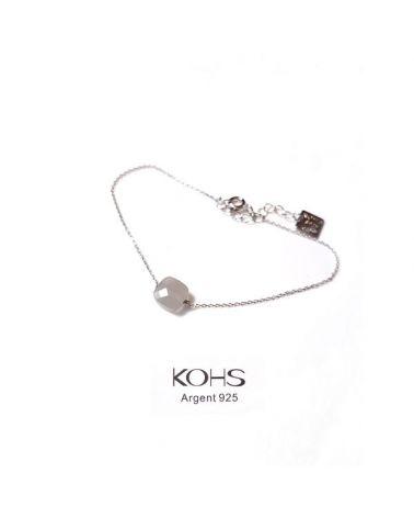 Bracelet argent perle gris opal