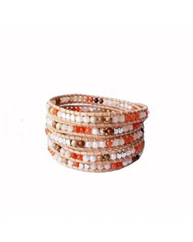 Bracelet 5 tours orangé
