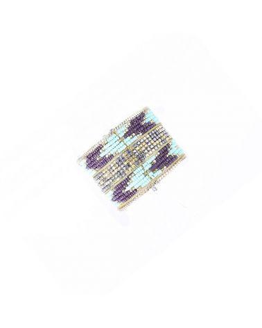 Bracelet semi rigide effet Ikat