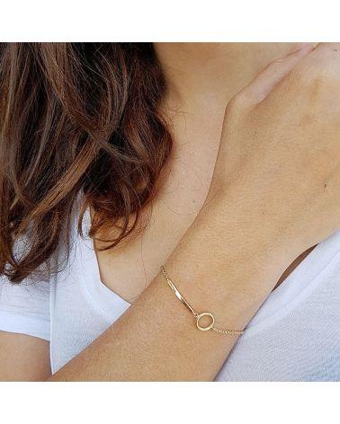 Bracelet plaqué or cercle et baton