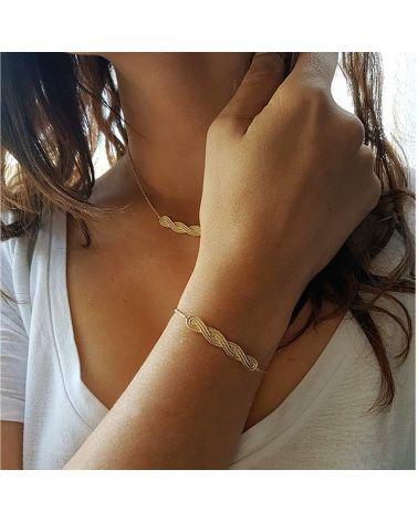 Bracelet plaqué or tresse texturée