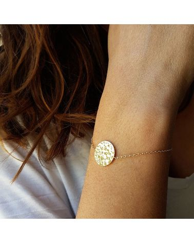 Bracelet chaine médaille martelée