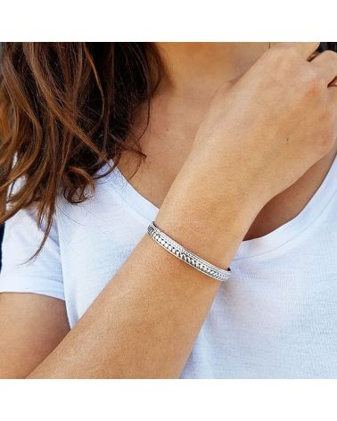 Bracelet jonc argent motif ronds
