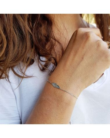 Bracelet chaine coulissante plume