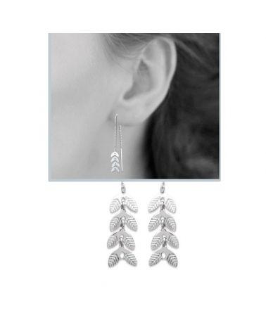 Boucles d'oreilles argent feuilles laurier