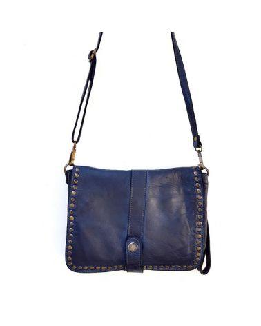 Pochette cuir vintage bleu marine