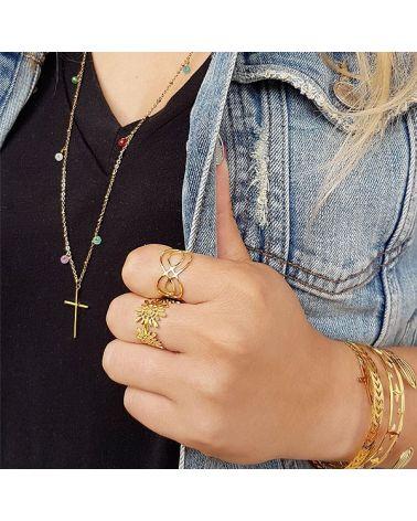 Bague anneau motif pétales mile mila
