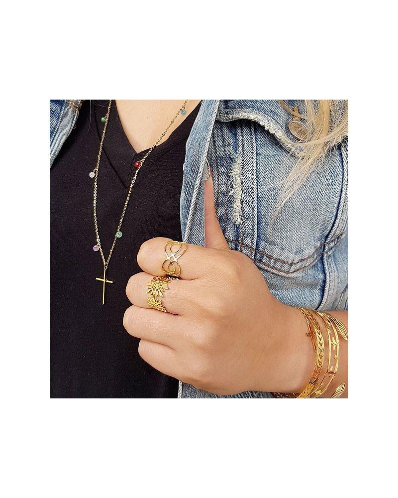 Bague anneau motif pétales