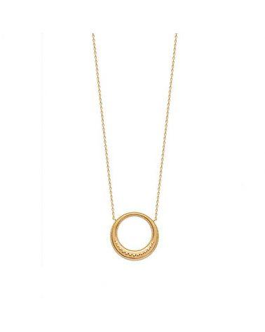 Collier plaqué Or pendentif cercle ciselé