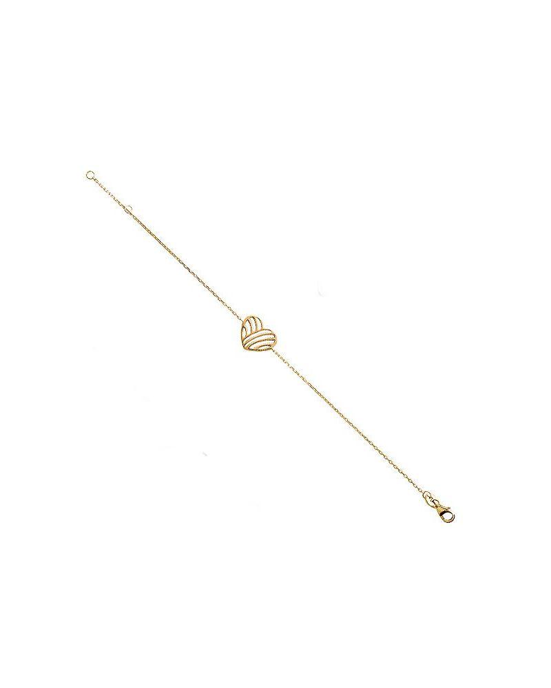 Bracelet plaqué or et coeur