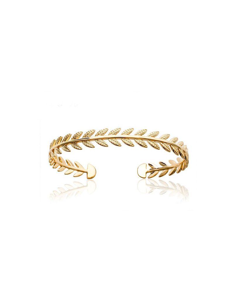 Bracelet jonc plaqué or laurier