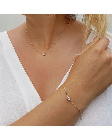 Bracelet fin plaqué or zircon
